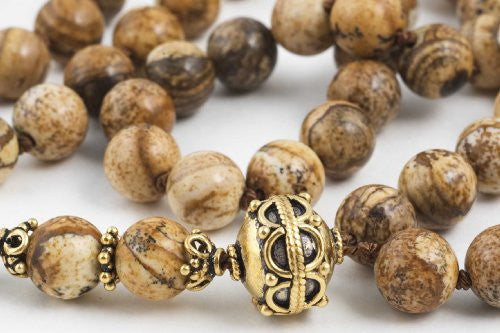 Brown Picture Jasper Prayer Beads