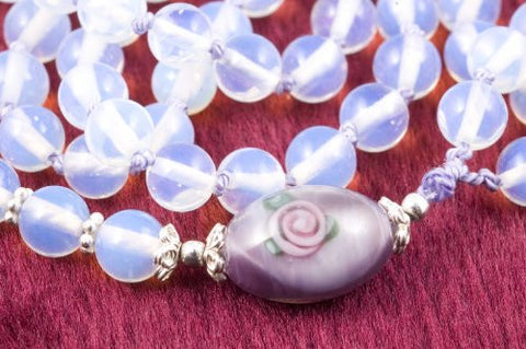 Clear Sea Opal Glass Prayer Beads