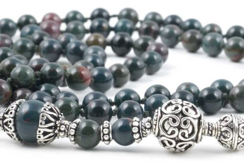 Green & Red Indian Bloodstone Prayer Beads