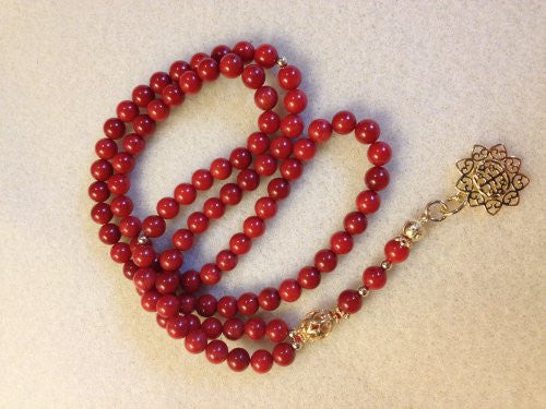 Red Bamboo Coral Prayer Beads
