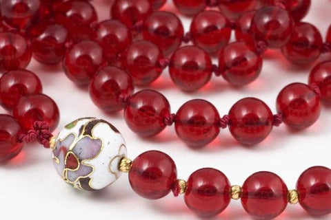 Red Glass and Cloisonne Prayer Beads