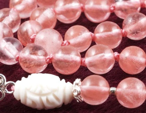 Cherry Quartz Glass Prayer Beads