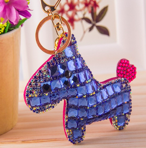 Pony Rhinestone Key Chain - Purple