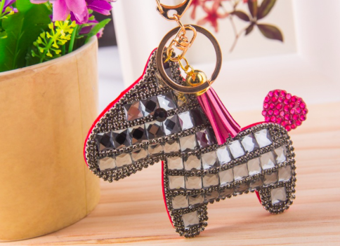Pony Rhinestone Key Chain - Grey