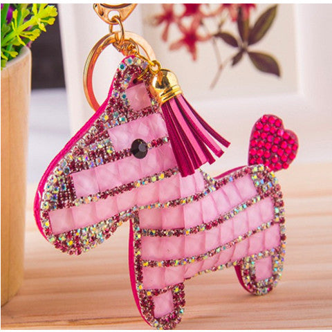 Pony Rhinestone Key Chain - Pink