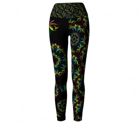 Abaca Cannabis Chic Yoga Leggings front Wendy Newman Designs