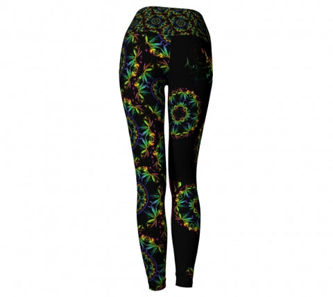 Abaca Cannabis Chic Yoga Leggings back Wendy Newman Designs