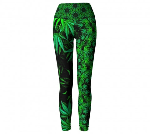 Cannabis Chic Yoga Leggings Wendy Newman Designs front