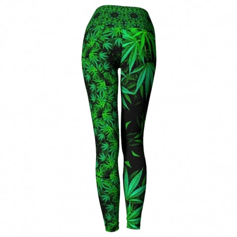 Cannabis Chic Yoga Leggings Wendy Newman Designs back