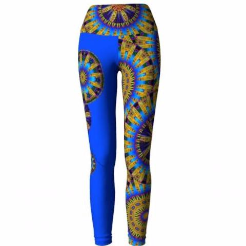 'Frolic' Asheville Yoga Leggings (blue) - front