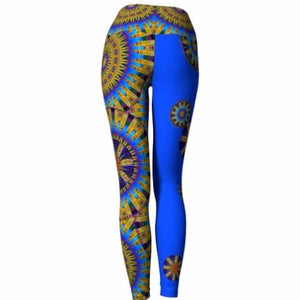 'Frolic' Asheville Yoga Leggings (blue) - back