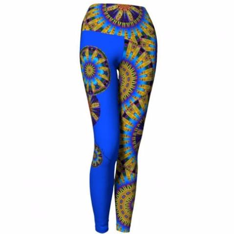 'Frolic' Asheville Yoga Leggings (blue)