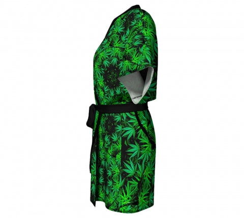 Doobie Cannabis Chic Kimono side 1 Wendy Newman Designs