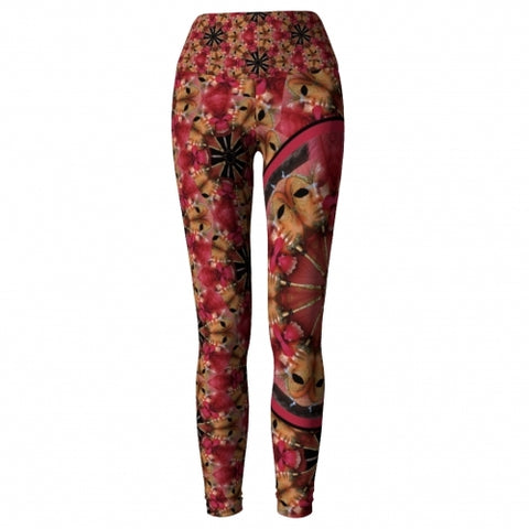 Exultation Masquerade Yoga Leggings front Wendy Newman Designs