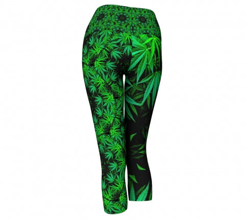 Flax Cannabis Chic Yoga Capris back Wendy Newman Designs
