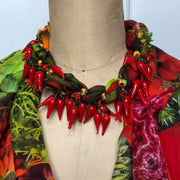 Organic Chow Chow Scarf with chili pepper necklace