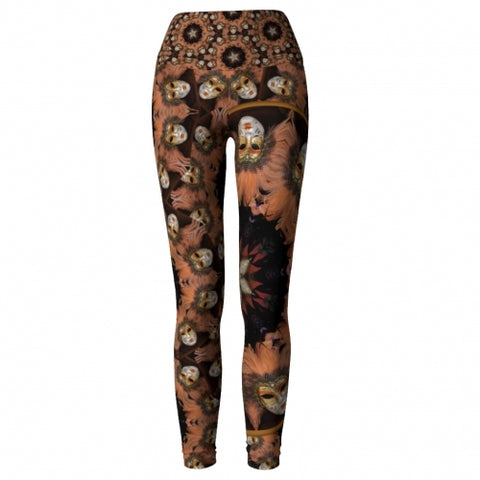 'Joviality' Masquerade Yoga Leggings - front