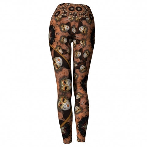 'Joviality' Masquerade Yoga Leggings - back