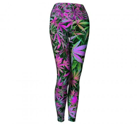 Maui Wowie Cannabis Chic Yoga Leggings Wendy Newman Designs