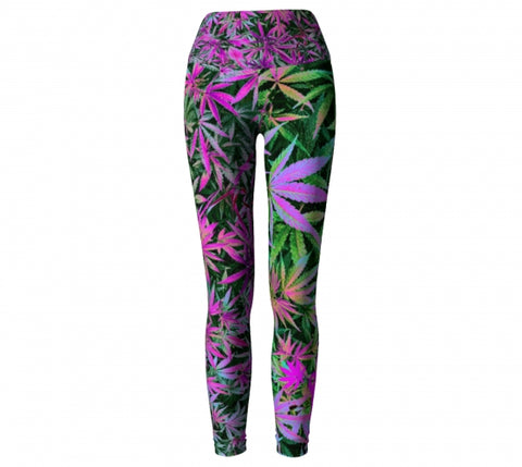 Maui Wowie Cannabis Chic Yoga Leggings front  Wendy Newman Designs