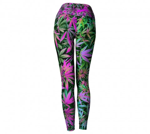 Maui Wowie Cannabis Chic Yoga Leggings back Wendy Newman Designs