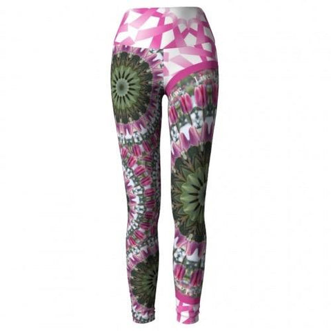 Moxie Breast Cancer Awareness Yoga Leggings front Wendy Newman Designs