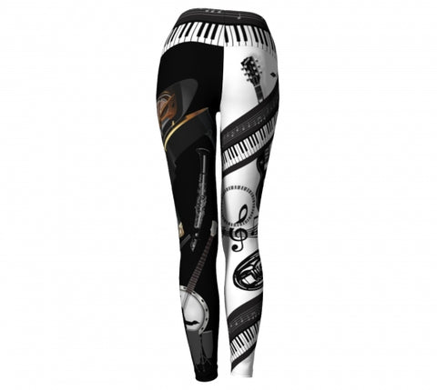 'Musicality' Music Yoga Leggings Wendy Newman Designs back