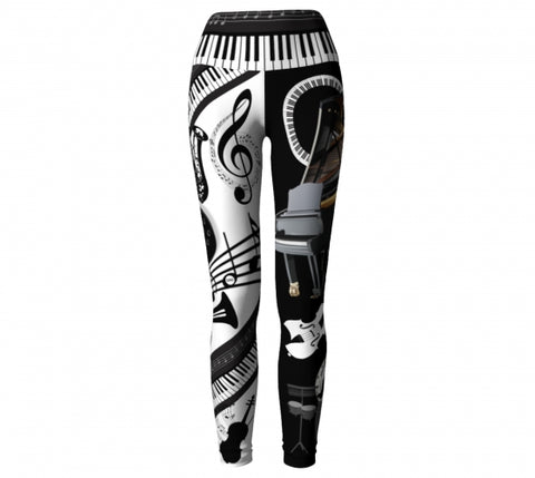 'Musicality' Music Yoga Leggings Wendy Newman Designs front 2