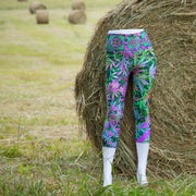 Psychotrophic Cannabis Chic Yoga Capris Print 2 Wendy Newman Designs