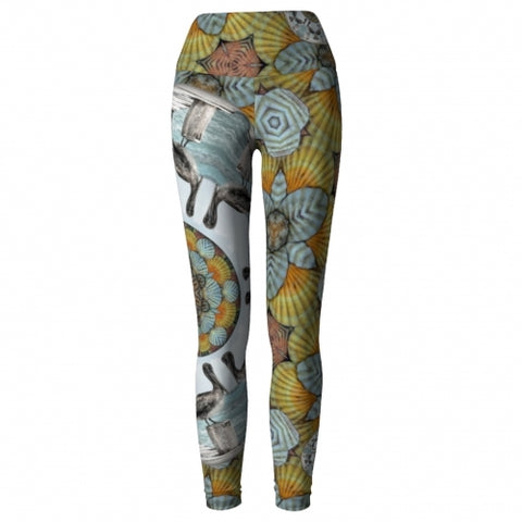 Nereus Seaside Yoga Leggings front 2 Wendy Newman Designs