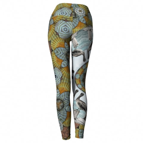 Nereus Seaside Yoga Leggings back Wendy Newman Designs