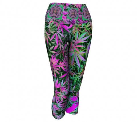 PsychotrophicCannabis Chic Yoga Capris front wendy Newman Designs
