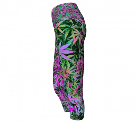 Psychotrophic Cannabis Chic Yoga Capris side wendy Newman Designs