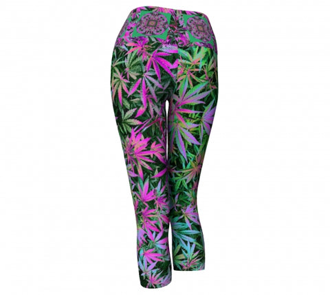 Psychotrophic Cannabis Chic Yoga Capris back wendy Newman Designs