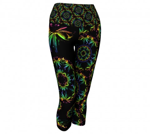 Trippin Cannabis Chic  front Yoga Capris