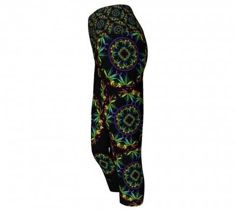Trippin Cannabis Chic  side Yoga Capris
