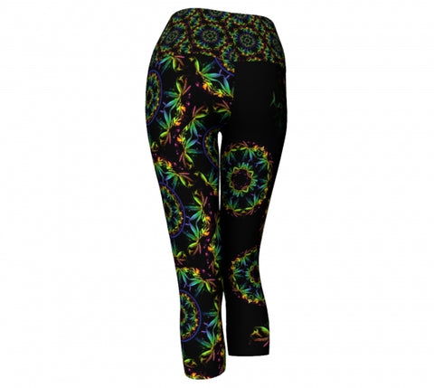 Trippin Cannabis Chic  back Yoga Capris