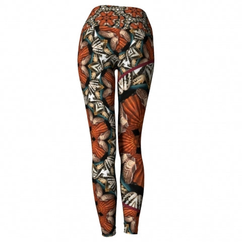 Triton Seaside Yoga Leggings back view Wendy Newman Designs