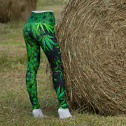 'Bhang' Cannabis Chic Leggings side back Wendy Newman Designs