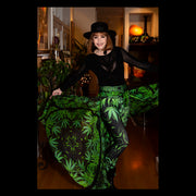 'Bhang' Cannabis Chic leggings front 2 and custom. silk skirt Wendy Newman Designs
