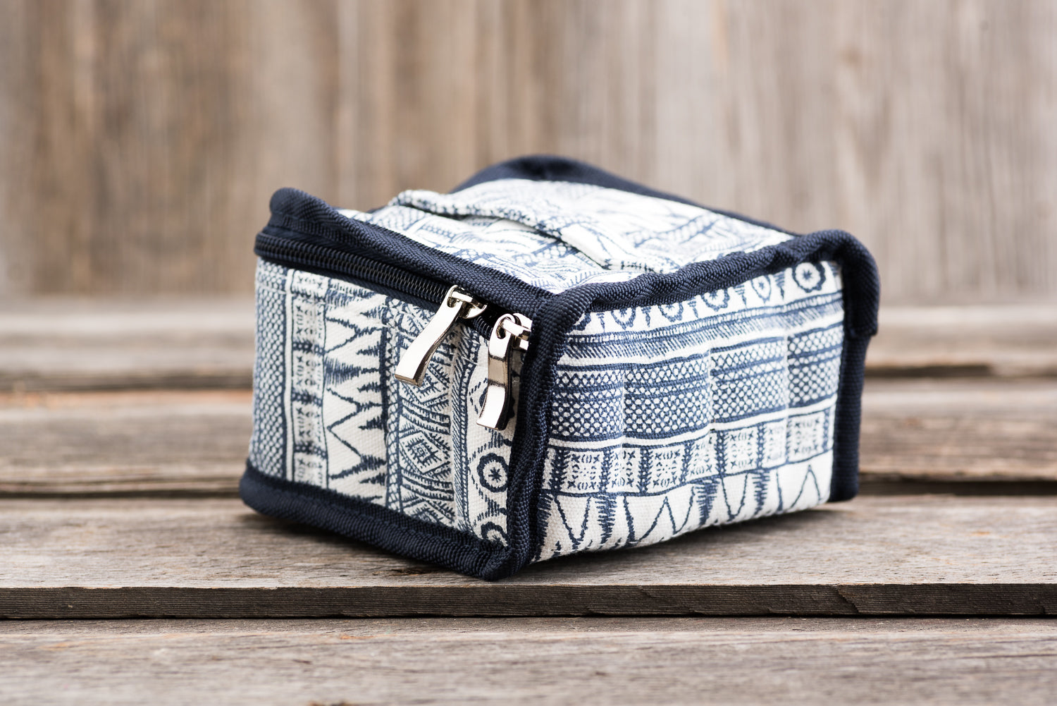 Medium Durable Navy Geometric Print Essential Oil Carrying Case