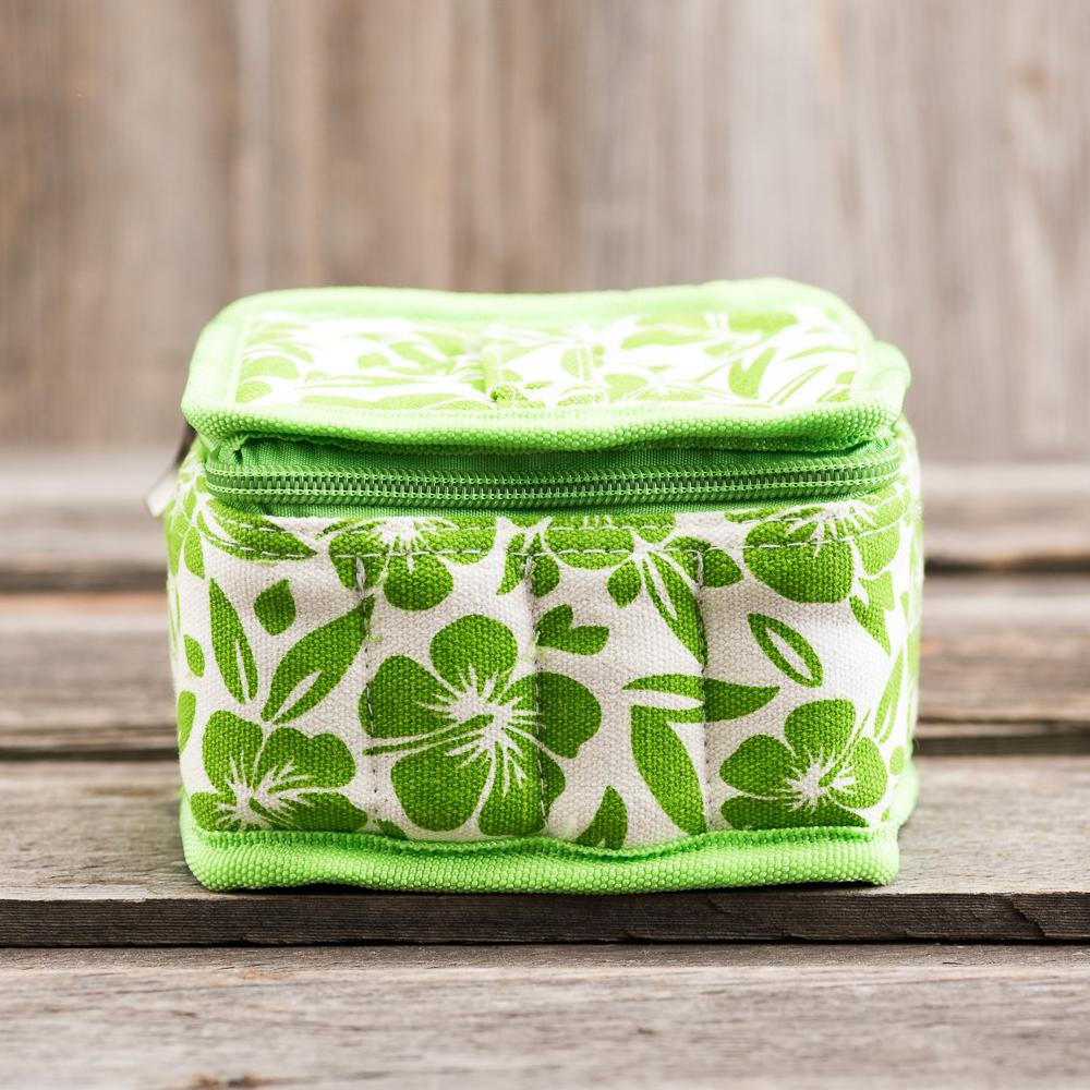 Medium Durable Lime Green Hibiscus Print Essential Oil Carrying Case