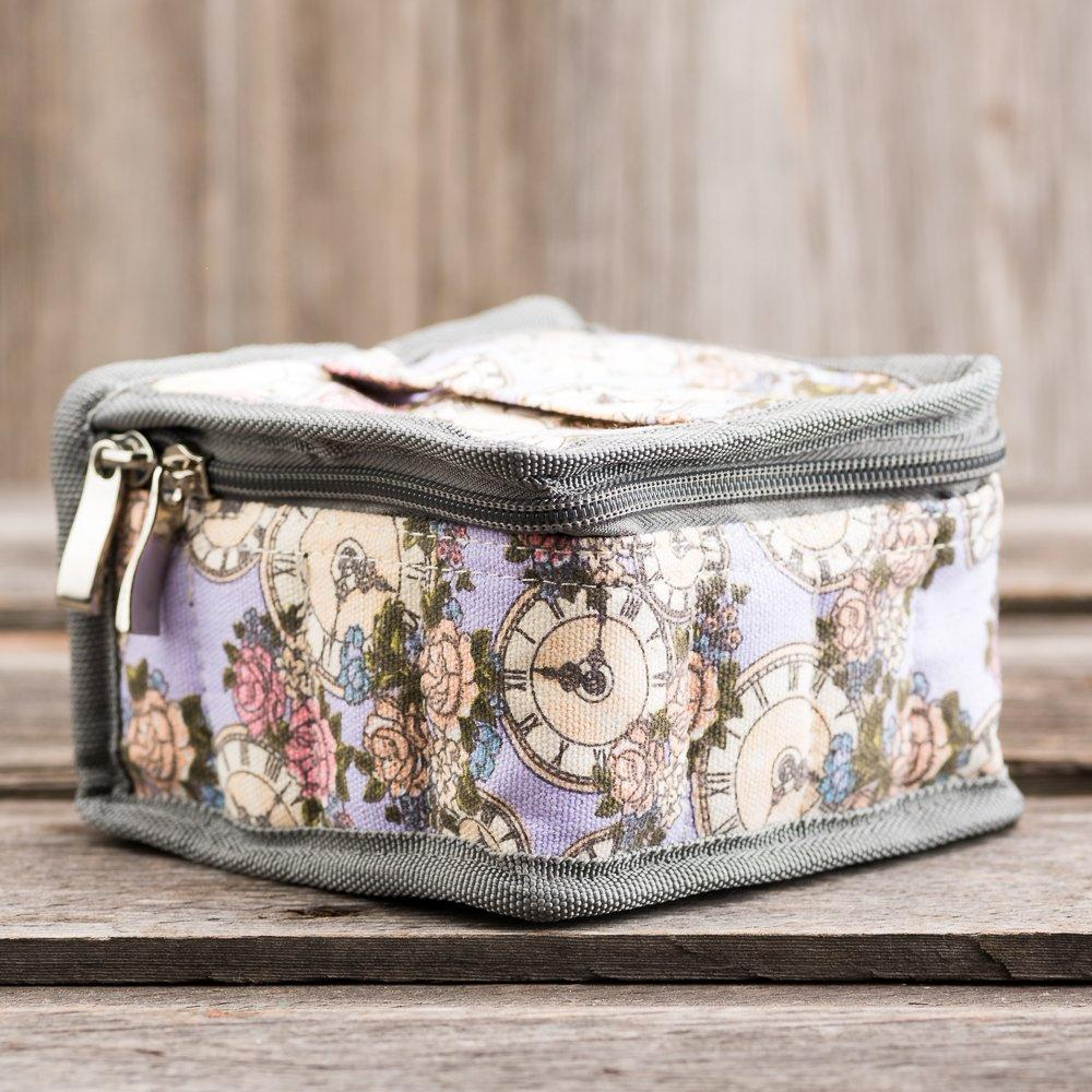 Medium Durable Floral Clock Print Essential Oil Carrying Case