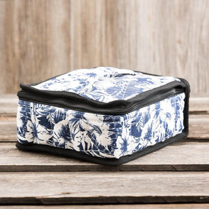 Large Durable Navy Blue Lily Print Essential Oil Carrying Case