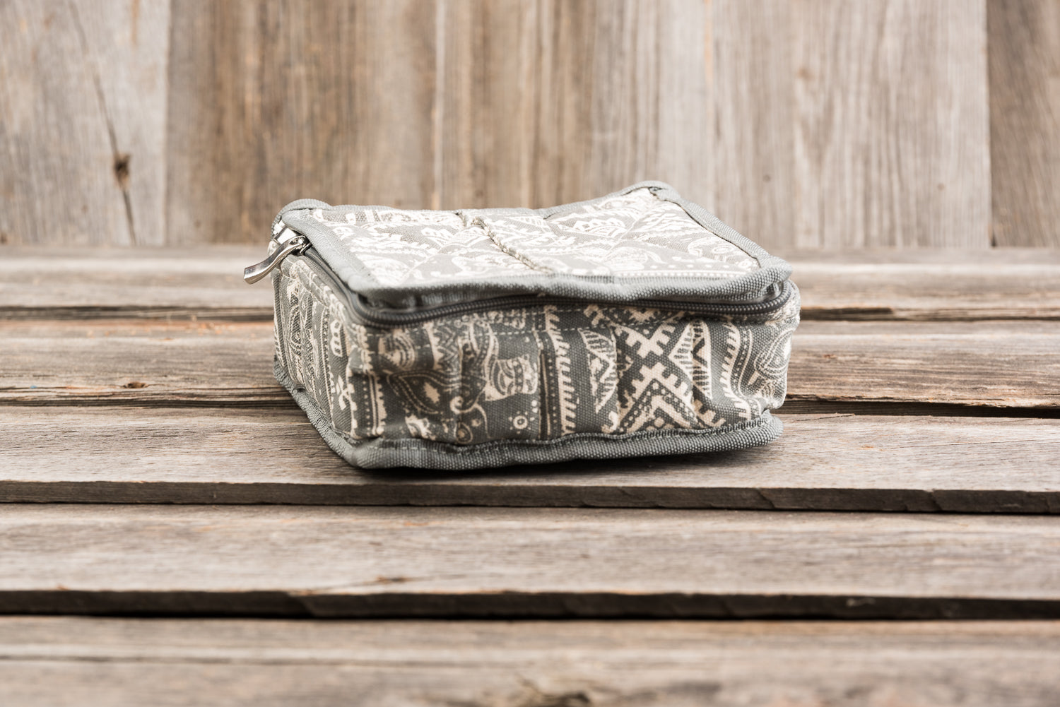 Large Durable Grey Boho Print Essential Oil Carrying Case