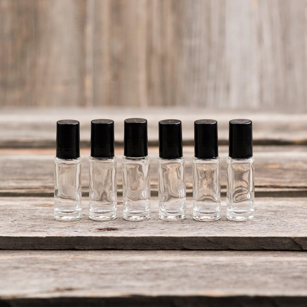 5ml Clear Glass Roller Bottles (pkg of 6)