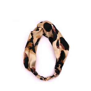 Leopard Twist Front Silk Headband