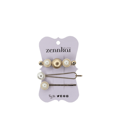 Pearl & Gold Barrette Set