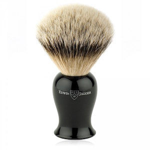 Edwin Jagger Plaza Shaving Brush Silvertip Badger Ebony - Jimmy Figg's Bare-knuckle Barber - Beard/Shaving Product