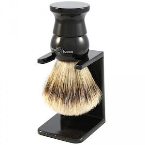 Edwin Jagger Shaving Brush Super Badger and Stand Medium Ebony EJ28 - Jimmy Figg's Bare-knuckle Barber - Beard/Shaving Product